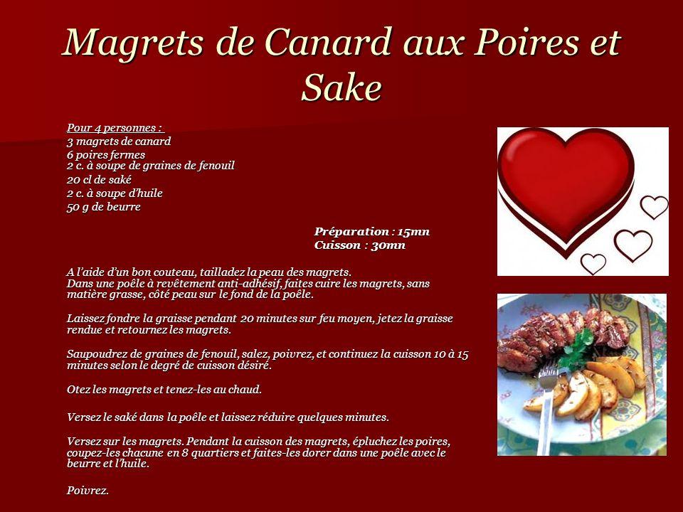 Magrets de Canard aux Poires et Sake Pour 4 personnes : Pour 4 personnes : 3 magrets de canard 3 magrets de canard 6 poires fermes 2 c. à soupe de gra
