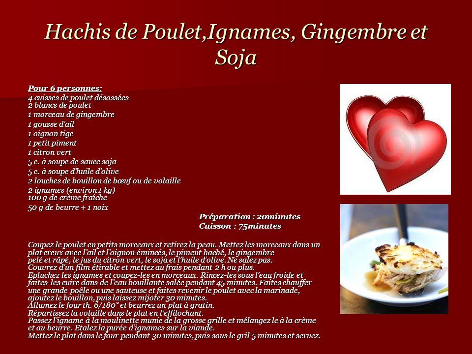 Hachis de Poulet,Ignames, Gingembre et Soja Pour 6 personnes: 4 cuisses de poulet désossées 2 blancs de poulet 1 morceau de gingembre 1 morceau de gin