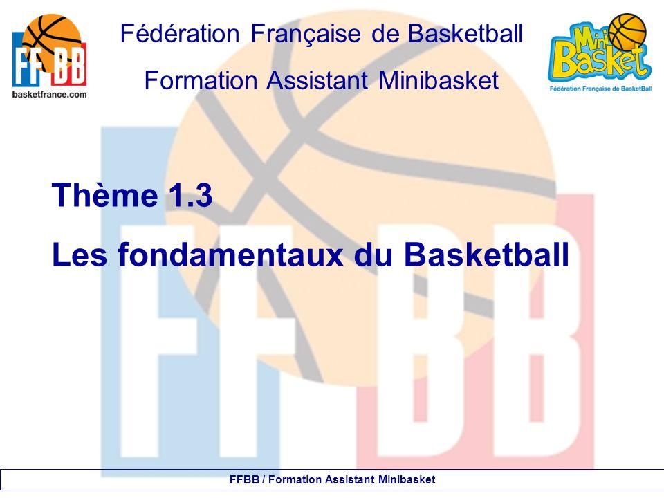 Les fondamentaux 4- Le dribble : gestuelle à privilégier FFBB / Formation Assistant Minibasket Le ballon plutôt sur le côté hauteur du dribble : la taille.