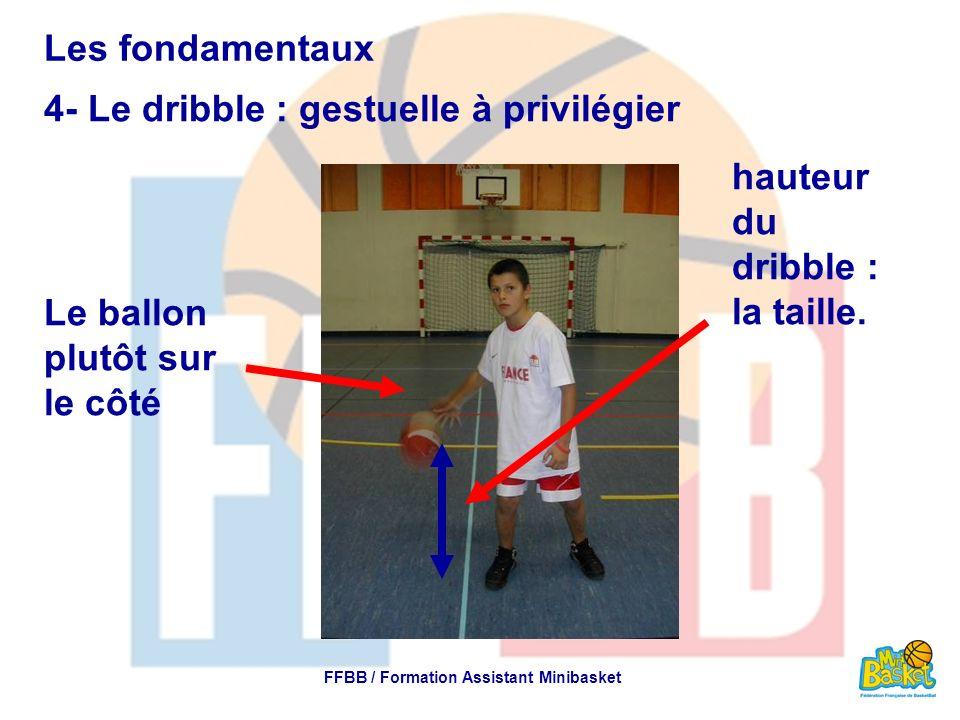 Les fondamentaux 4- Le dribble : gestuelle à privilégier FFBB / Formation Assistant Minibasket Le ballon plutôt sur le côté hauteur du dribble : la ta