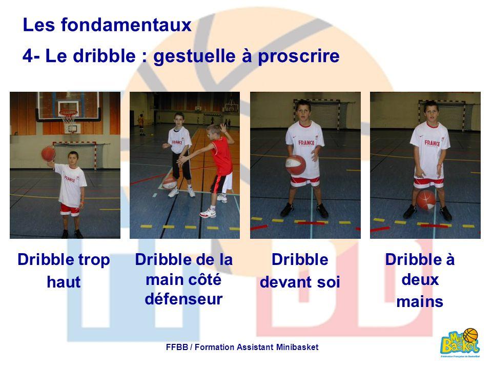 Les fondamentaux 4- Le dribble : gestuelle à proscrire FFBB / Formation Assistant Minibasket Dribble trop haut Dribble de la main côté défenseur Dribb