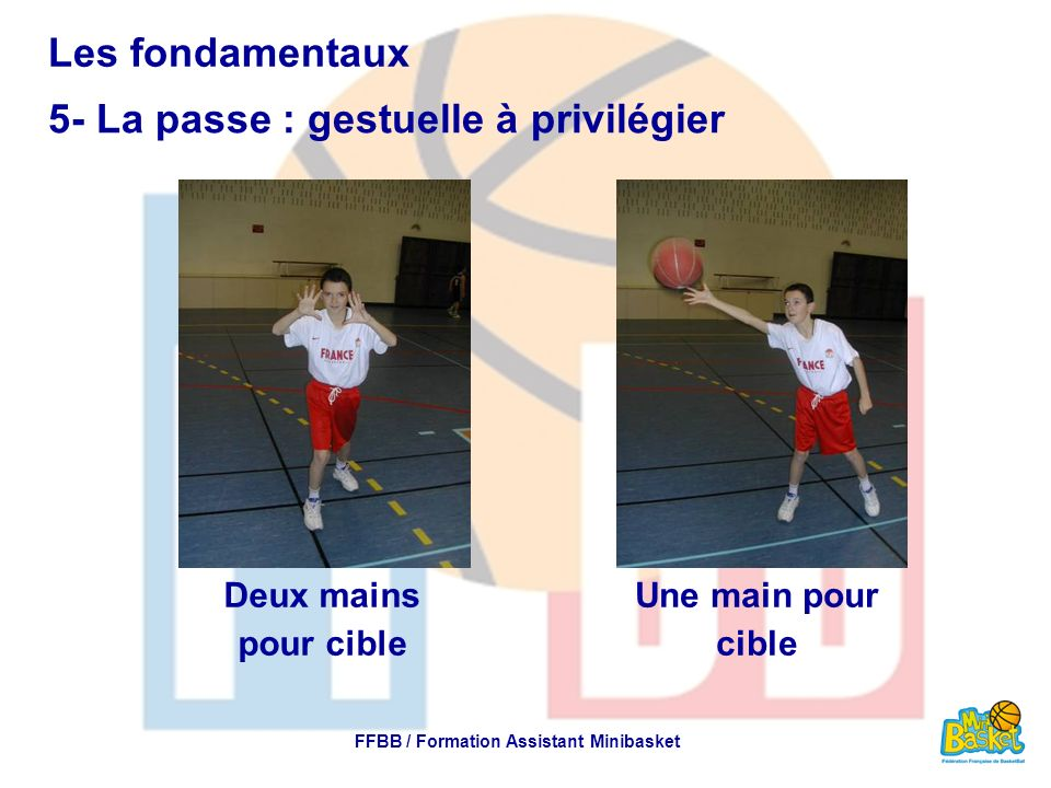 Les fondamentaux 5- La passe : gestuelle à privilégier FFBB / Formation Assistant Minibasket Deux mains pour cible Une main pour cible