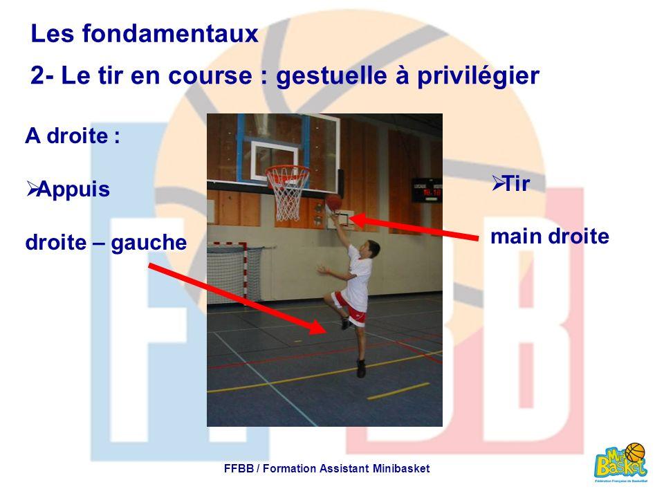 Les fondamentaux 5- La passe : gestuelle à privilégier FFBB / Formation Assistant Minibasket Deux mains hauteur de poitrine Passe désaxée Au dessus de la tête