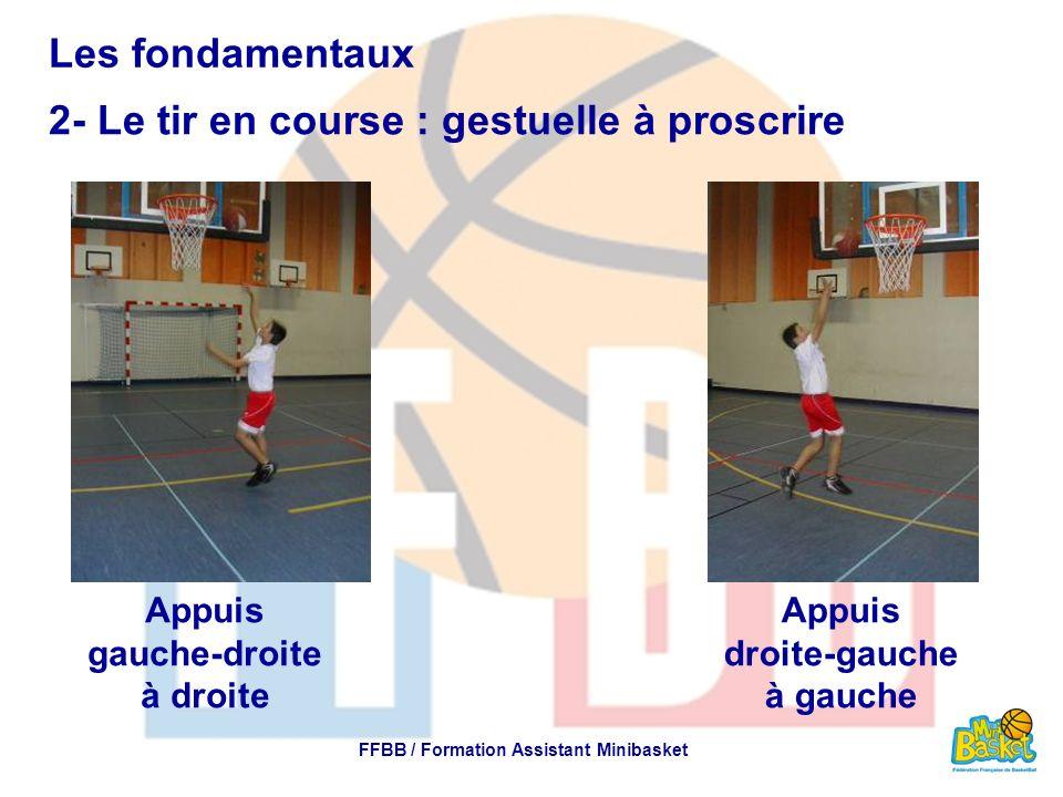 Les fondamentaux 2- Le tir en course : gestuelle à proscrire FFBB / Formation Assistant Minibasket Appuis gauche-droite à droite Appuis droite-gauche