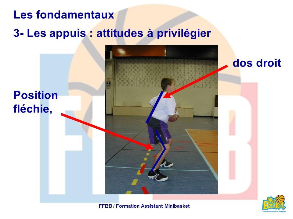 Les fondamentaux 3- Les appuis : attitudes à privilégier FFBB / Formation Assistant Minibasket Les appuis de la largeur des épaules Les appuis orientés face au panier