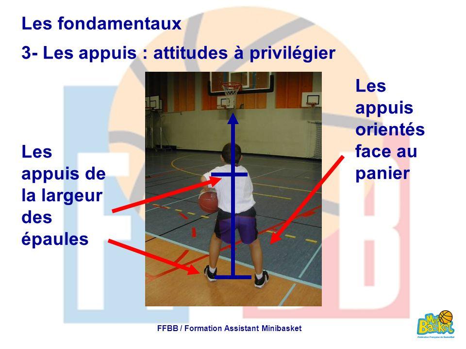 Les fondamentaux 3- Les appuis : attitudes à privilégier FFBB / Formation Assistant Minibasket Les appuis de la largeur des épaules Les appuis orienté