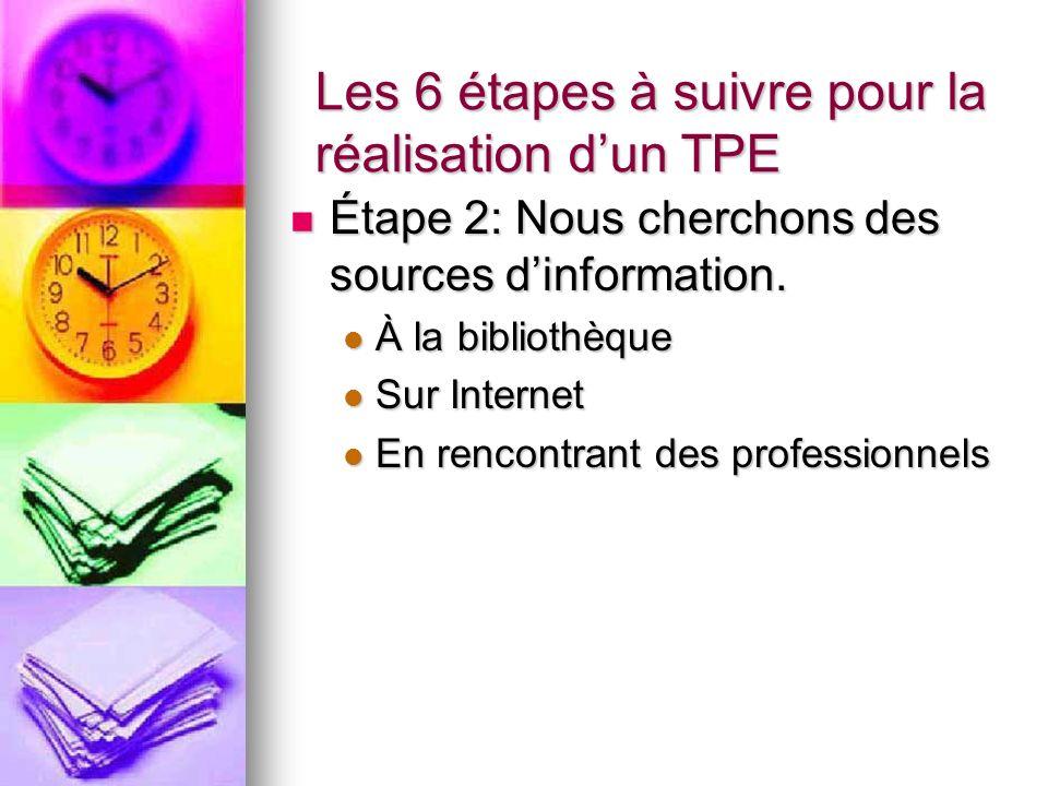 Les 6 étapes à suivre pour la réalisation dun TPE Étape 2: Nous cherchons des sources dinformation.