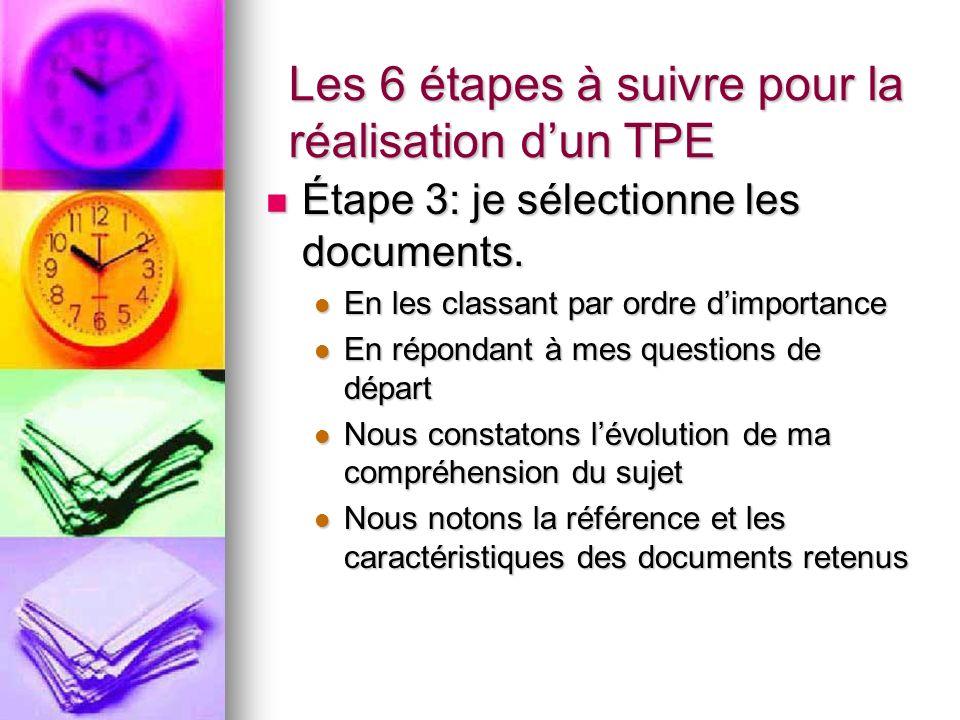 Les 6 étapes à suivre pour la réalisation dun TPE Étape 3: je sélectionne les documents.