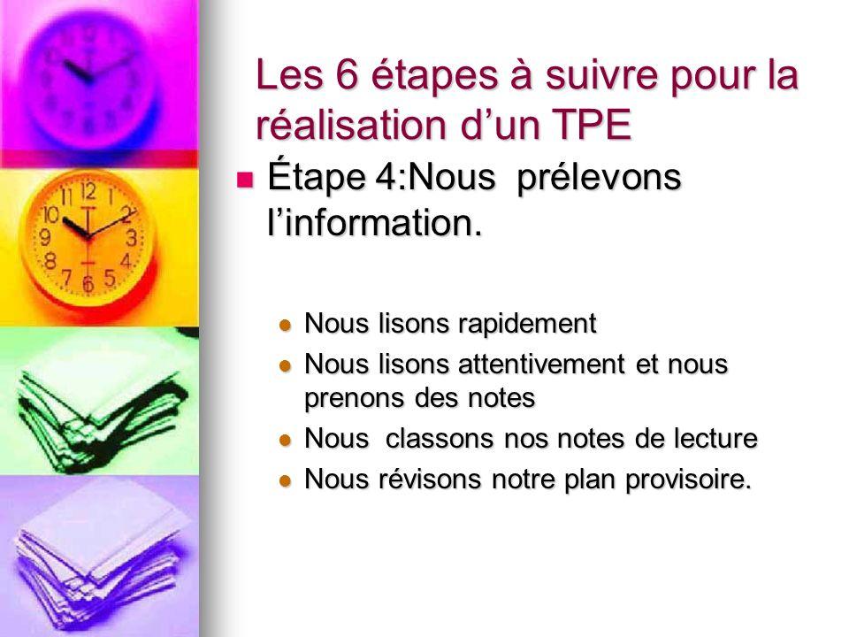 Les 6 étapes à suivre pour la réalisation dun TPE Étape 4:Nous prélevons linformation.