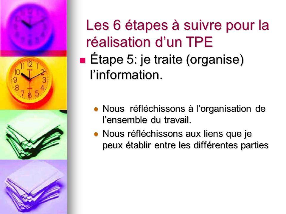 Les 6 étapes à suivre pour la réalisation dun TPE Étape 5: je traite (organise) linformation.