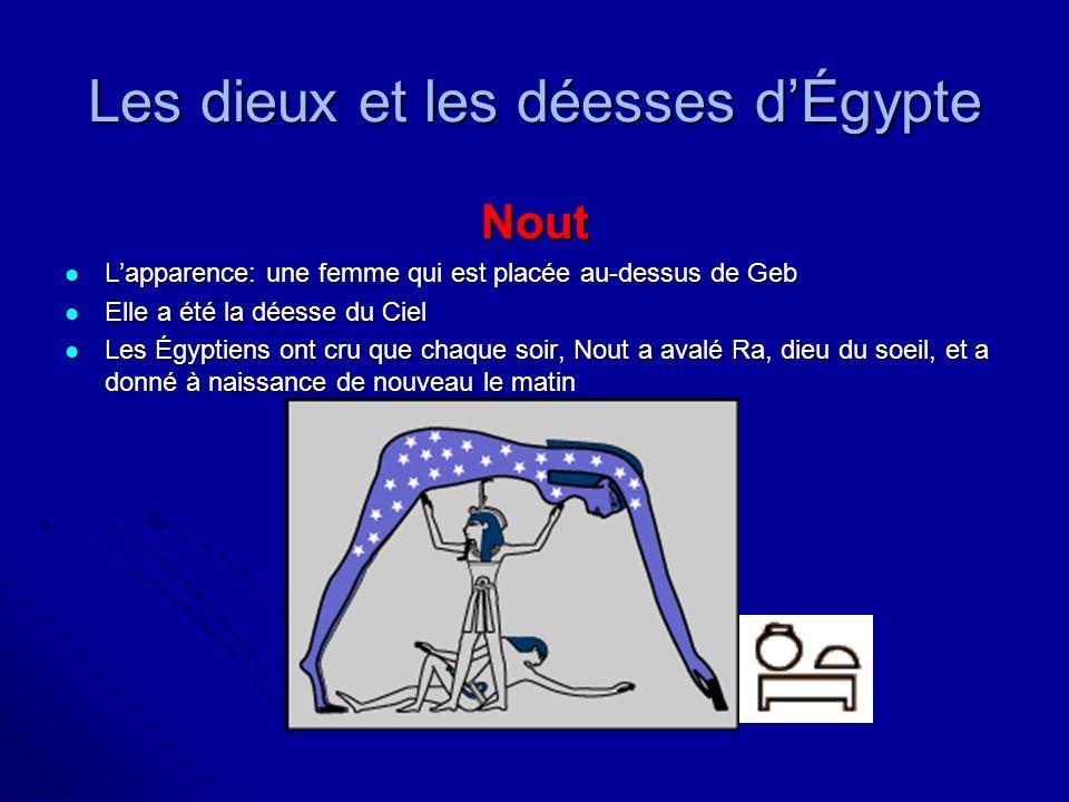 Les dieux et les déesses dÉgypte Nout Lapparence: une femme qui est placée au-dessus de Geb Lapparence: une femme qui est placée au-dessus de Geb Elle