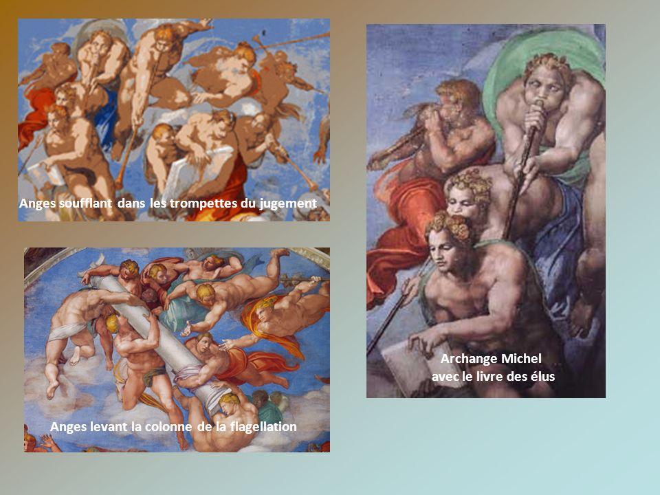 Anges soufflant dans les trompettes du jugement Anges levant la colonne de la flagellation Archange Michel avec le livre des élus
