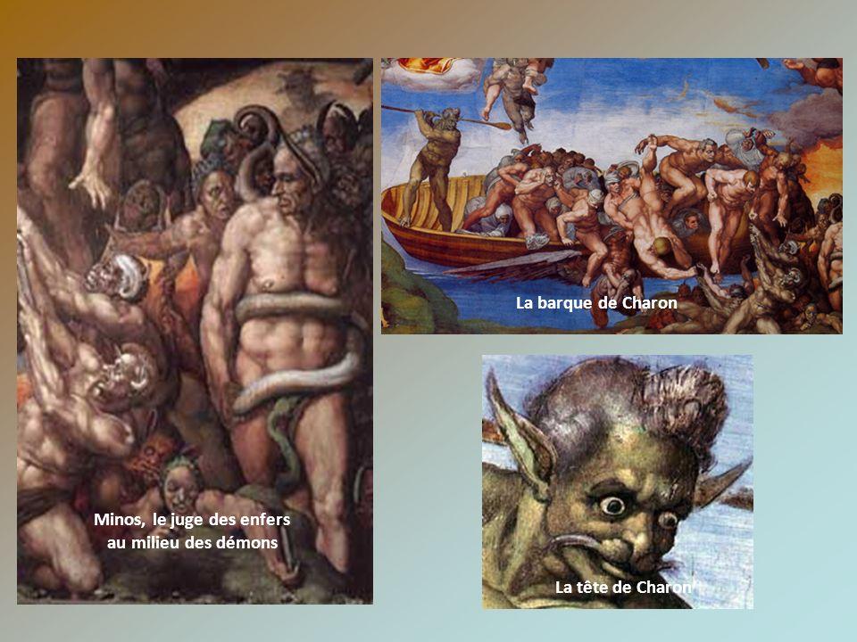 Minos, le juge des enfers au milieu des démons La barque de Charon La tête de Charon