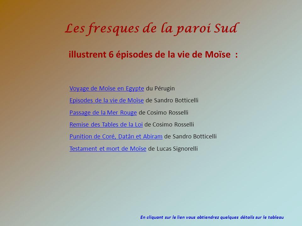 Les fresques de la paroi Sud Voyage de Moïse en EgypteVoyage de Moïse en Egypte du Pérugin Episodes de la vie de Moïse de Sandro Botticelli Passage de