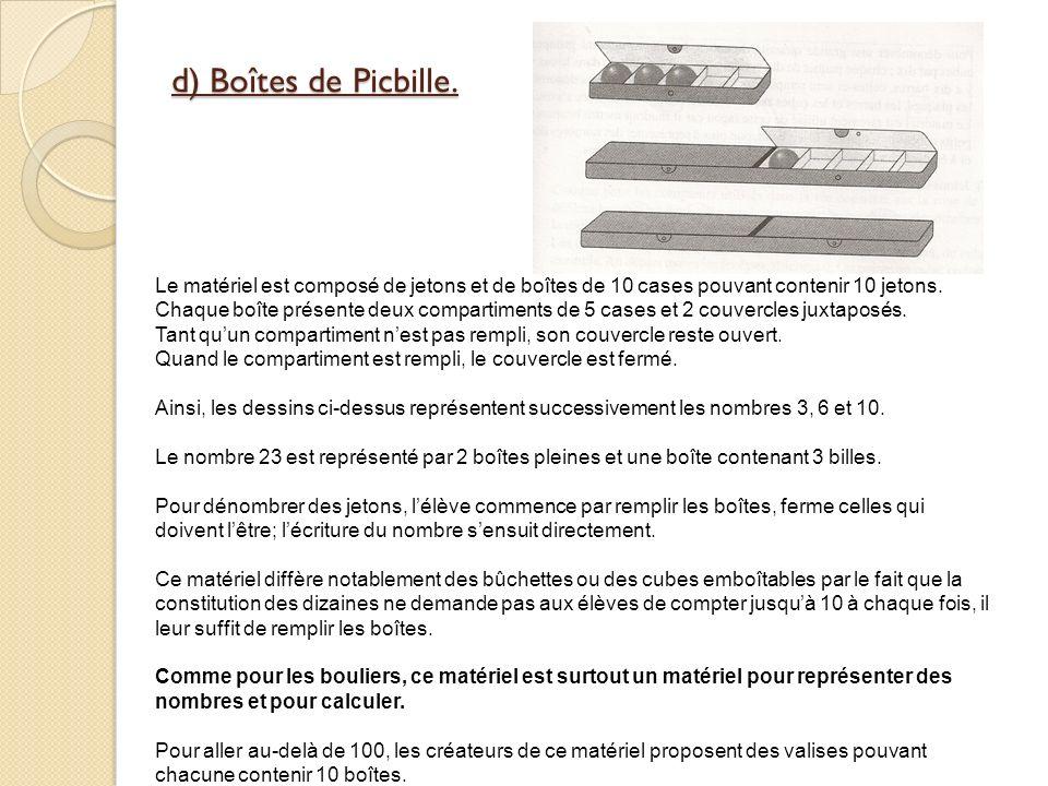d) Boîtes de Picbille.