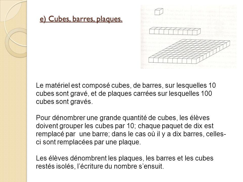 e) Cubes, barres, plaques.