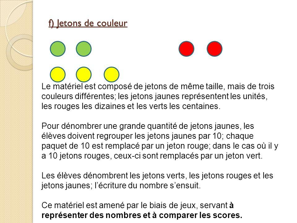 f) Jetons de couleur Le matériel est composé de jetons de même taille, mais de trois couleurs différentes; les jetons jaunes représentent les unités, les rouges les dizaines et les verts les centaines.