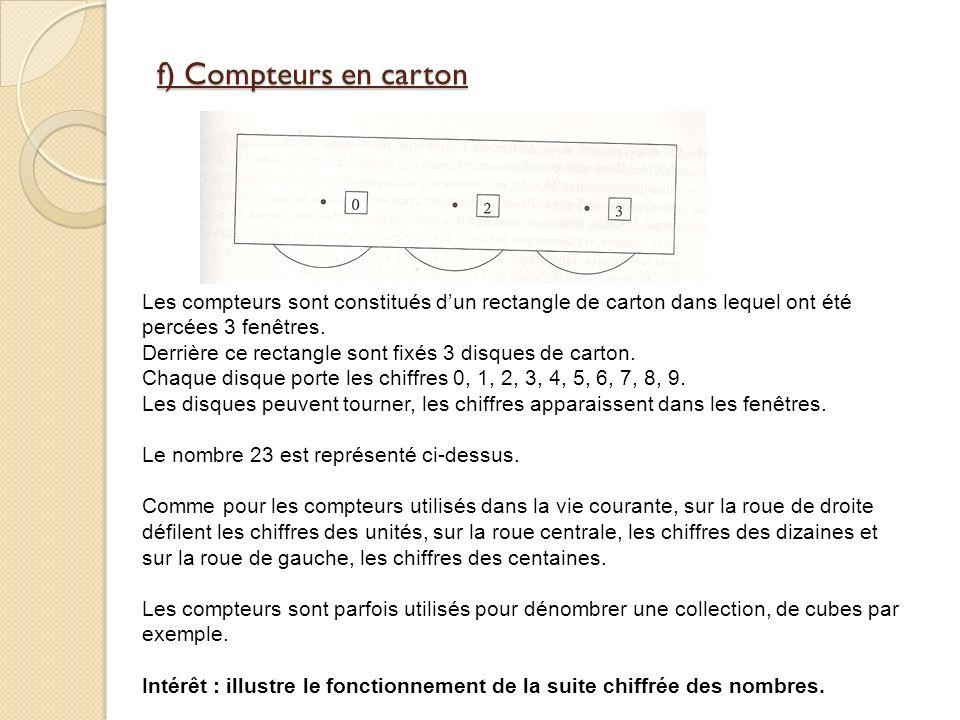 f) Compteurs en carton Les compteurs sont constitués dun rectangle de carton dans lequel ont été percées 3 fenêtres.