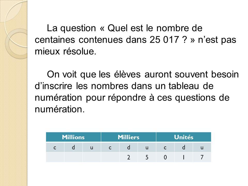 La question « Quel est le nombre de centaines contenues dans 25 017 .
