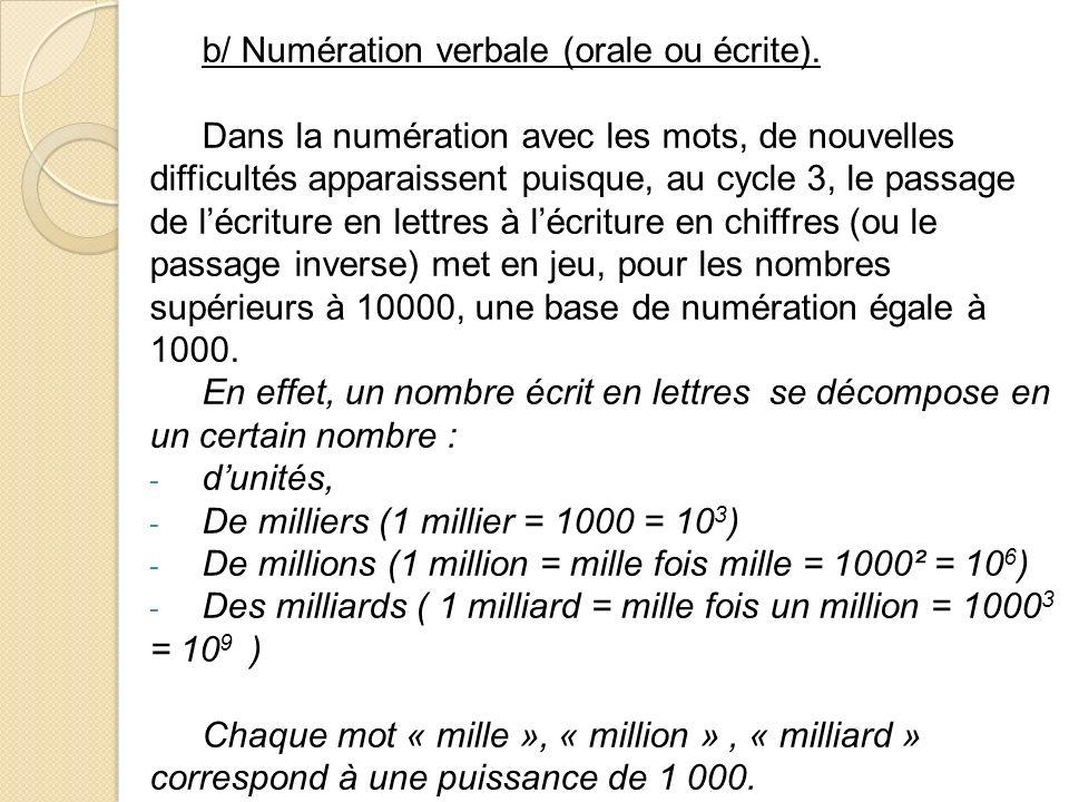 b/ Numération verbale (orale ou écrite).