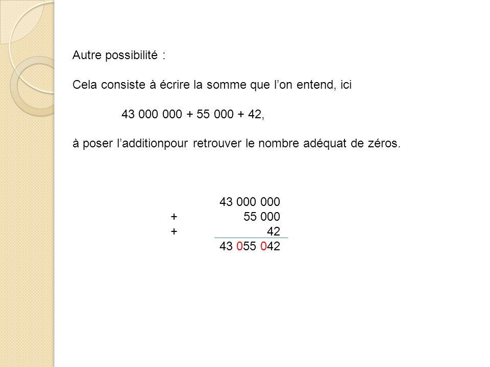 Autre possibilité : Cela consiste à écrire la somme que lon entend, ici 43 000 000 + 55 000 + 42, à poser ladditionpour retrouver le nombre adéquat de zéros.