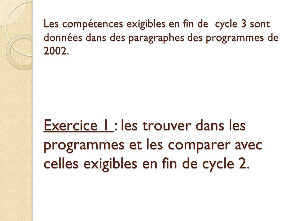 Les compétences exigibles en fin de cycle 3 sont données dans des paragraphes des programmes de 2002.