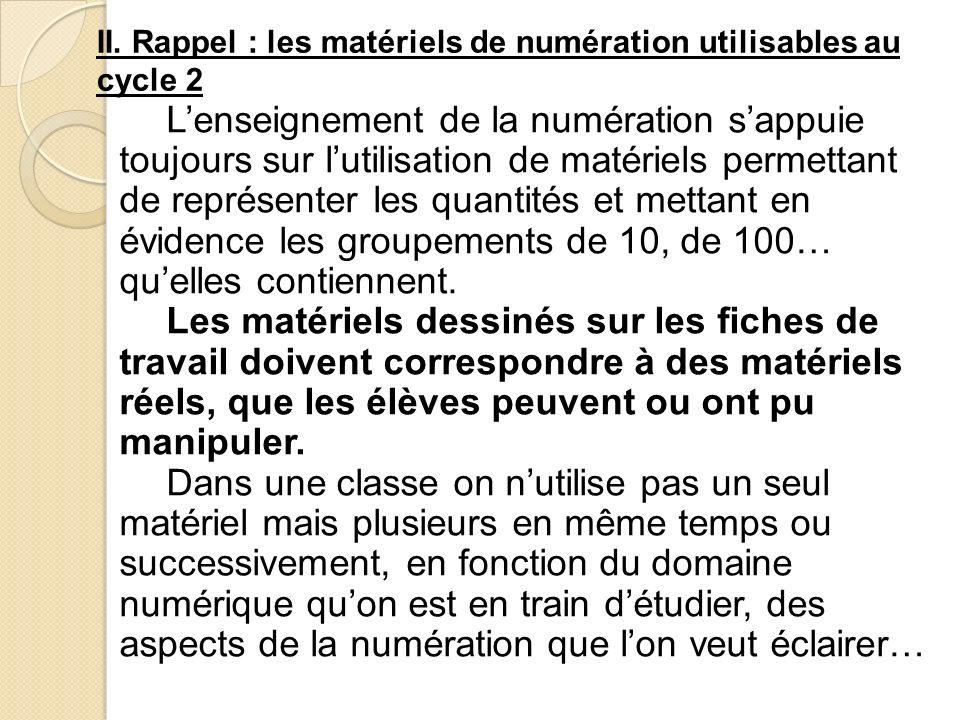 II. Rappel : les matériels de numération utilisables au cycle 2 Lenseignement de la numération sappuie toujours sur lutilisation de matériels permetta