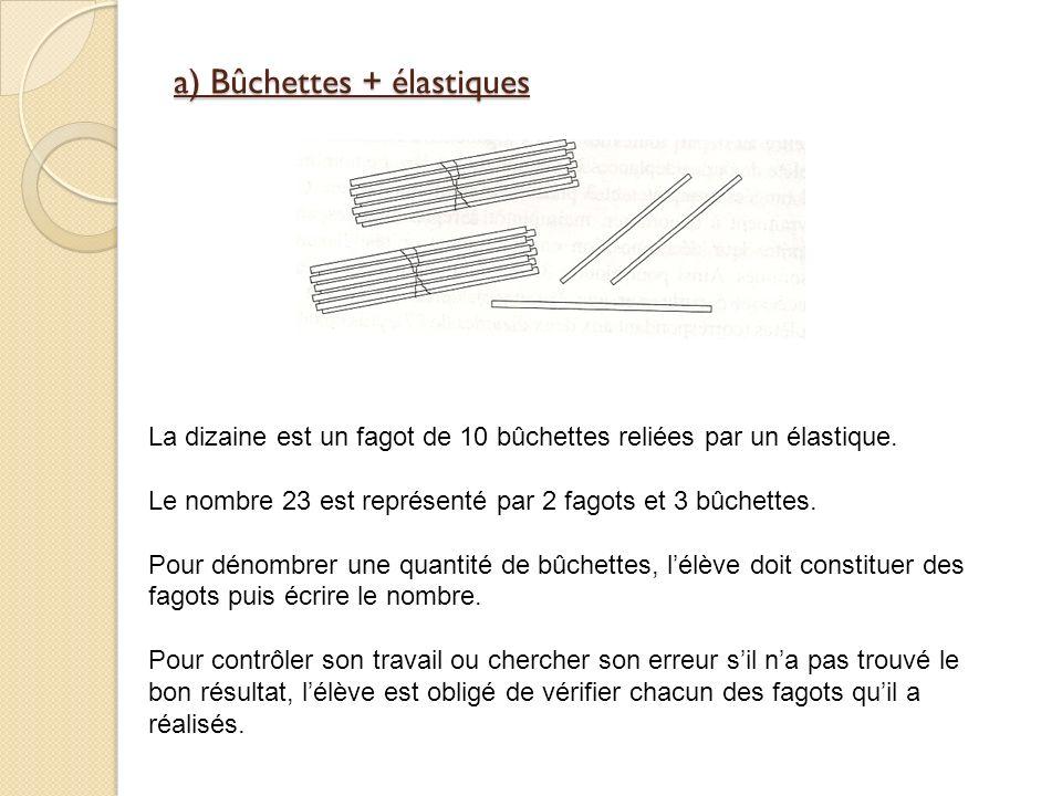 a) Bûchettes + élastiques La dizaine est un fagot de 10 bûchettes reliées par un élastique.