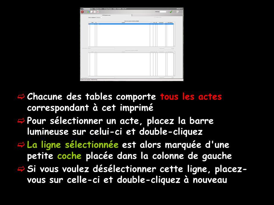 Chacune des tables comporte tous les actes correspondant à cet imprimé Pour sélectionner un acte, placez la barre lumineuse sur celui-ci et double-cli