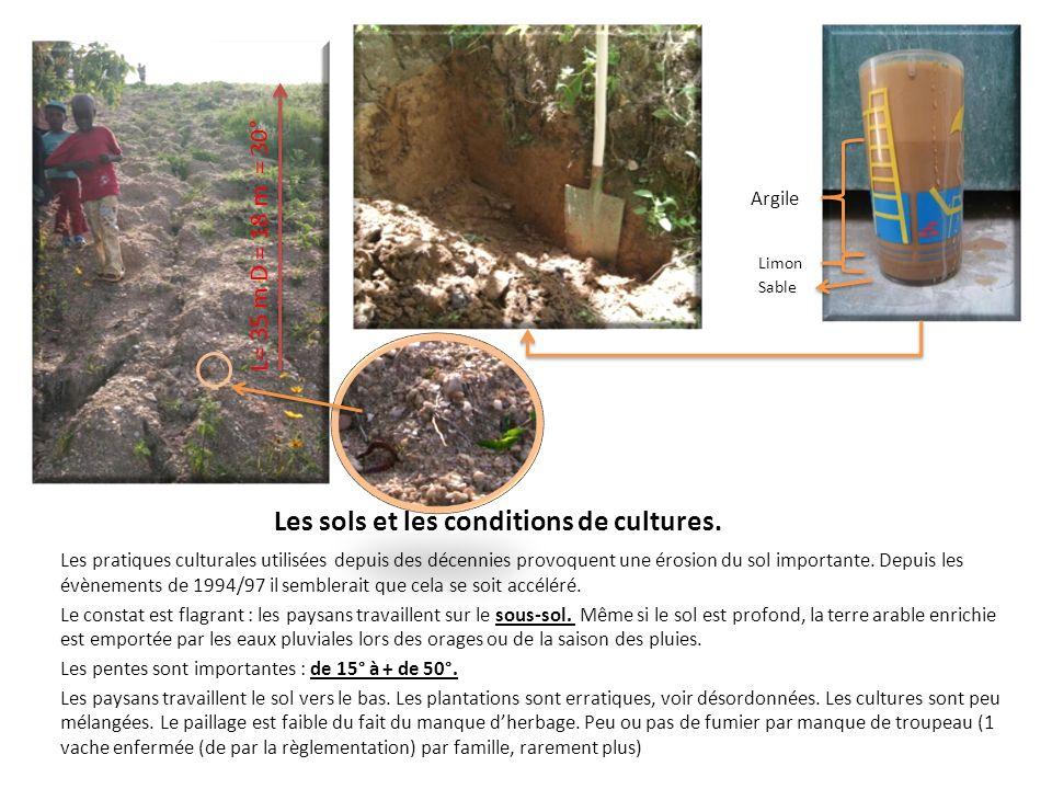 Les sols et les conditions de cultures. Les pratiques culturales utilisées depuis des décennies provoquent une érosion du sol importante. Depuis les é
