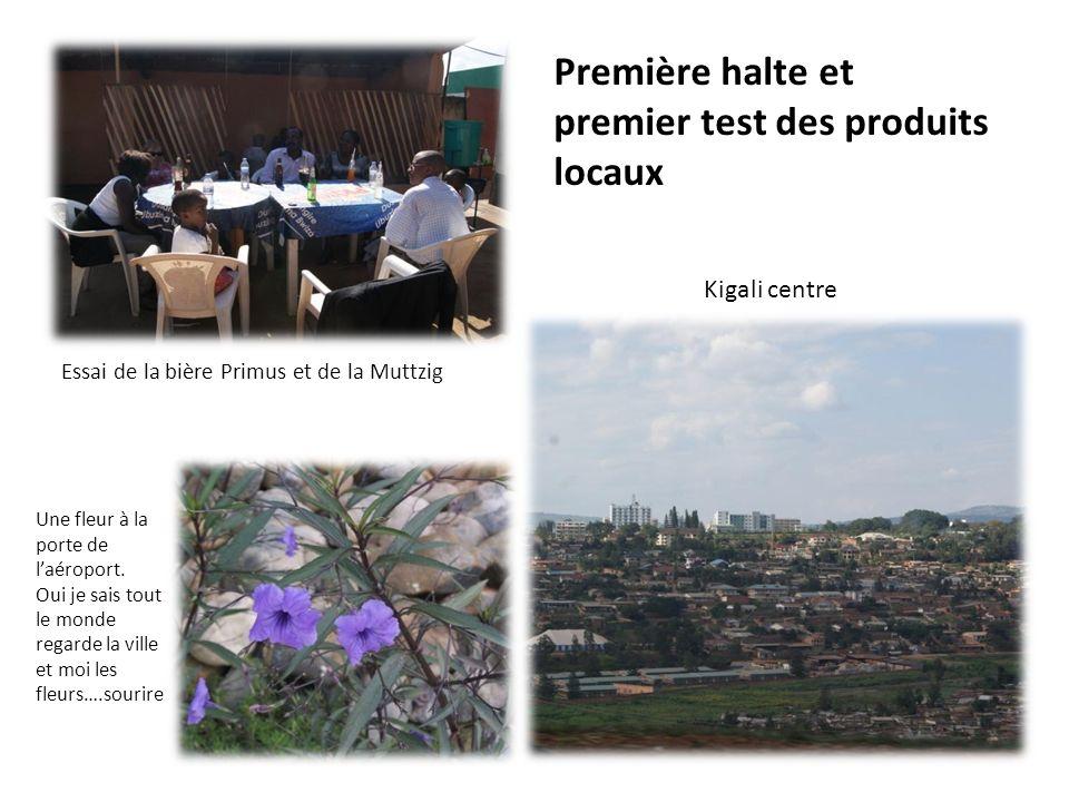 Première halte et premier test des produits locaux Essai de la bière Primus et de la Muttzig Kigali centre Une fleur à la porte de laéroport. Oui je s
