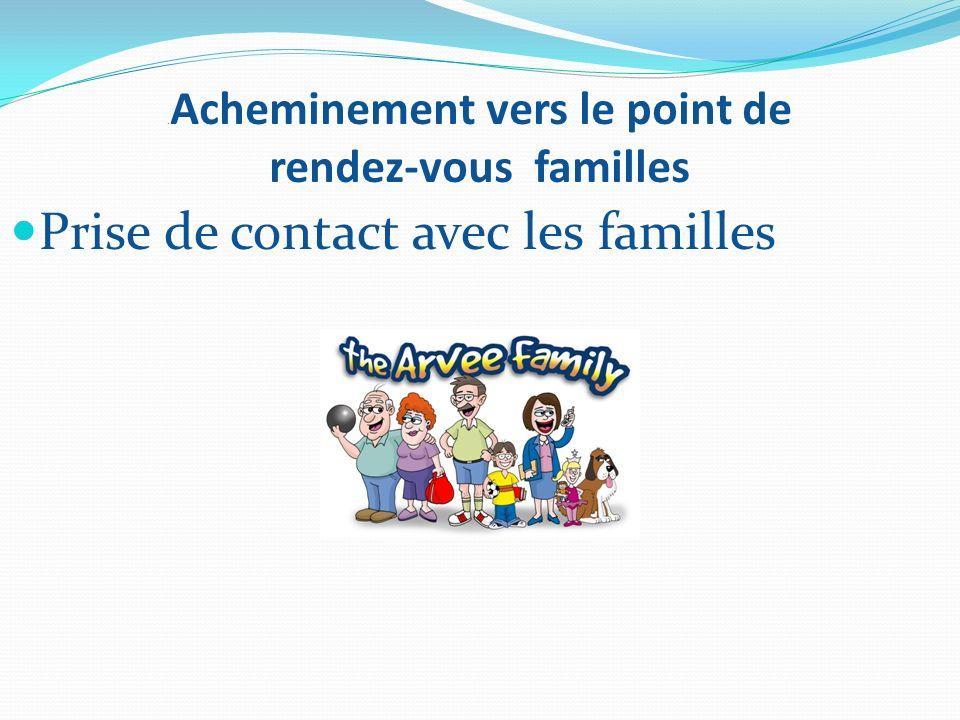 . Acheminement vers le point de rendez-vous familles Prise de contact avec les familles
