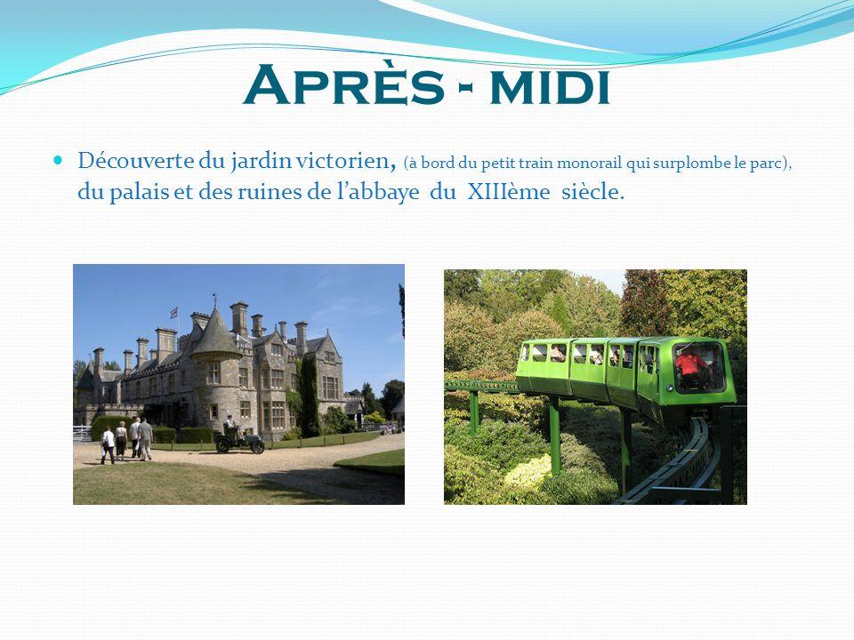 Après - midi Découverte du jardin victorien, (à bord du petit train monorail qui surplombe le parc), du palais et des ruines de labbaye du XIIIème siècle.