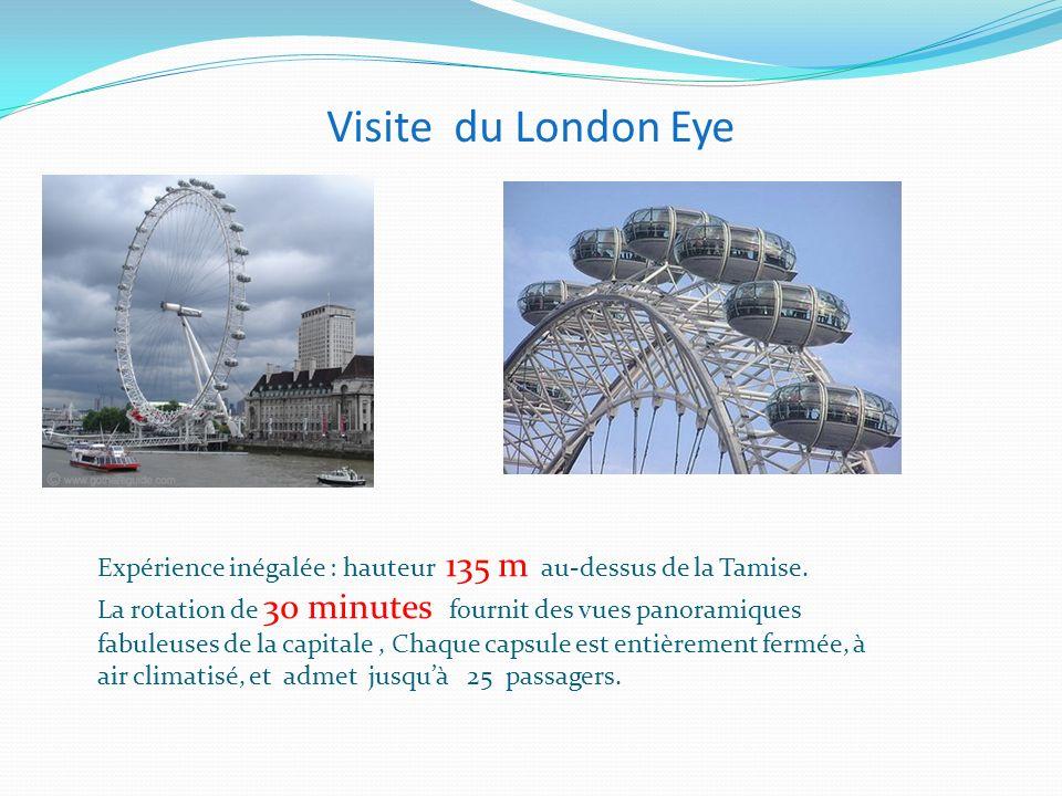 Visite du London Eye Expérience inégalée : hauteur 135 m au-dessus de la Tamise. La rotation de 30 minutes fournit des vues panoramiques fabuleuses de
