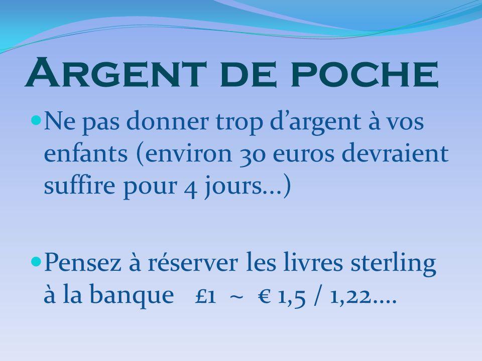 Argent de poche Ne pas donner trop dargent à vos enfants (environ 30 euros devraient suffire pour 4 jours...) Pensez à réserver les livres sterling à la banque £1 ~ 1,5 / 1,22….