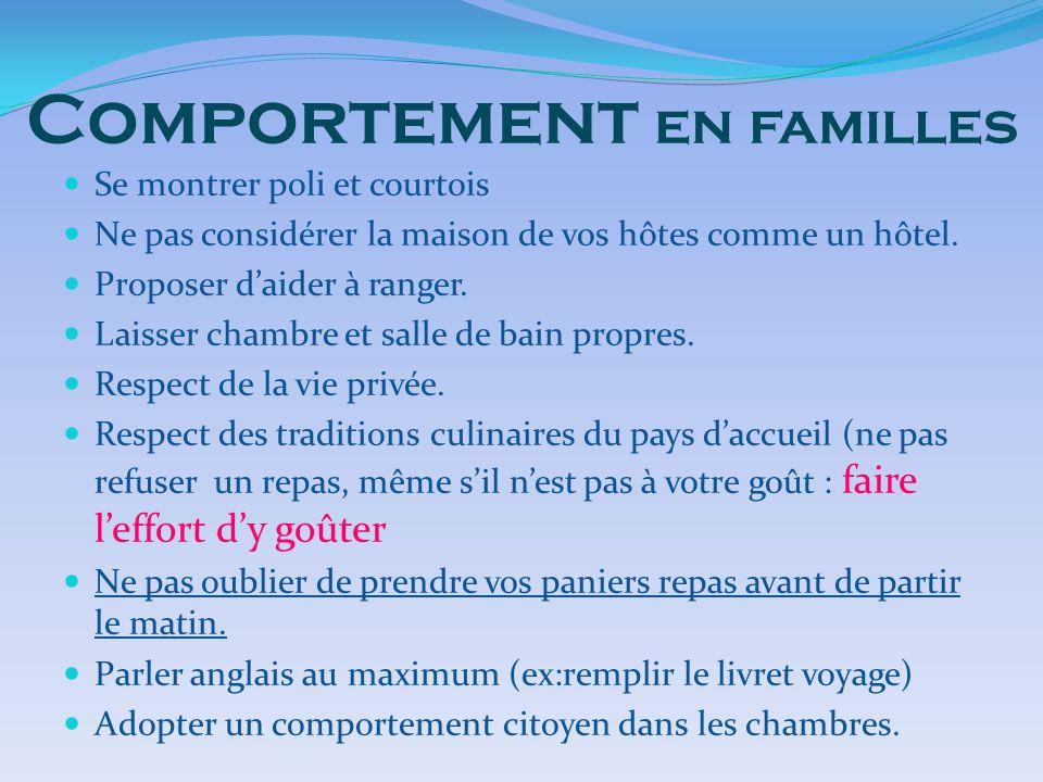 Comportement en familles Se montrer poli et courtois Ne pas considérer la maison de vos hôtes comme un hôtel. Proposer daider à ranger. Laisser chambr