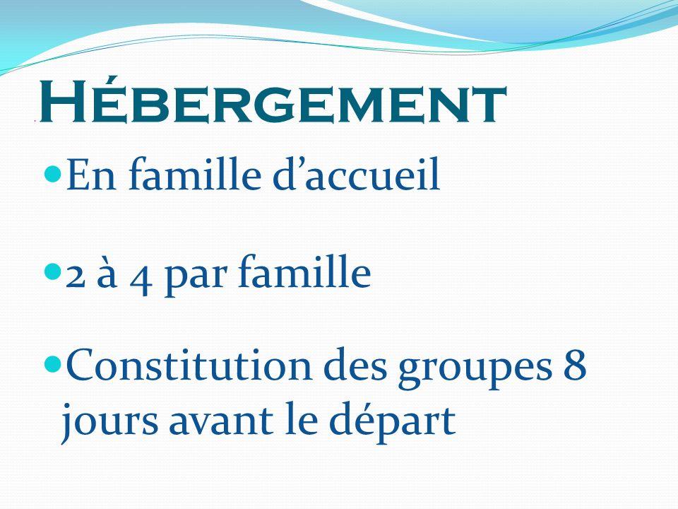 . Hébergement En famille daccueil 2 à 4 par famille Constitution des groupes 8 jours avant le départ