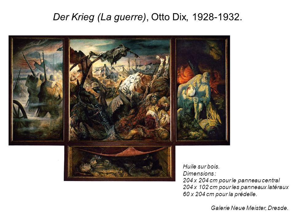 Der Krieg (La guerre), Otto Dix, 1928-1932. Huile sur bois. Dimensions : 204 x 204 cm pour le panneau central 204 x 102 cm pour les panneaux latéraux