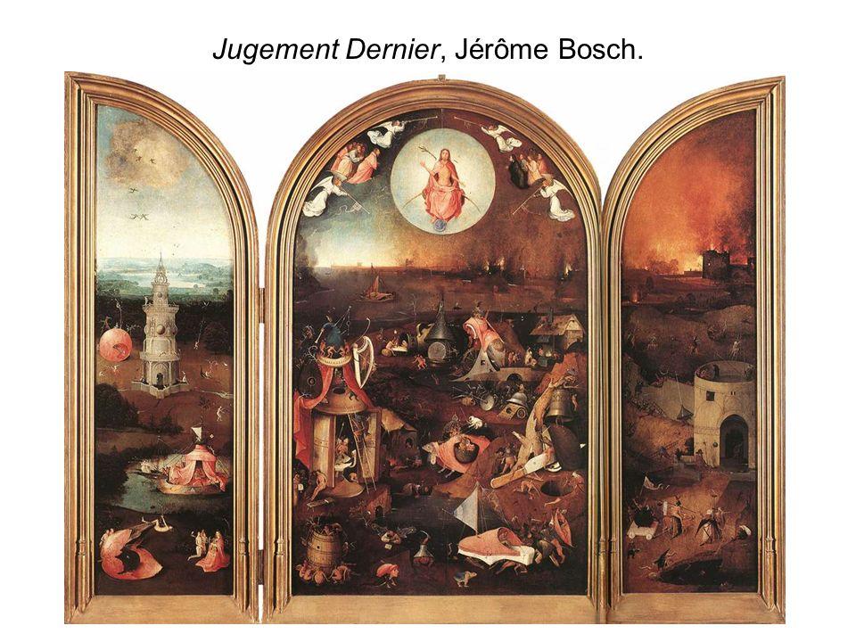 Dans un triptyque classique, Il est souvent possible de diviser le panneau central dans le sens de la hauteur : Dans la partie supérieure, on retrouve les cieux, les anges, les dieux.