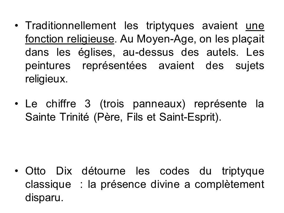 Traditionnellement les triptyques avaient une fonction religieuse. Au Moyen-Age, on les plaçait dans les églises, au-dessus des autels. Les peintures