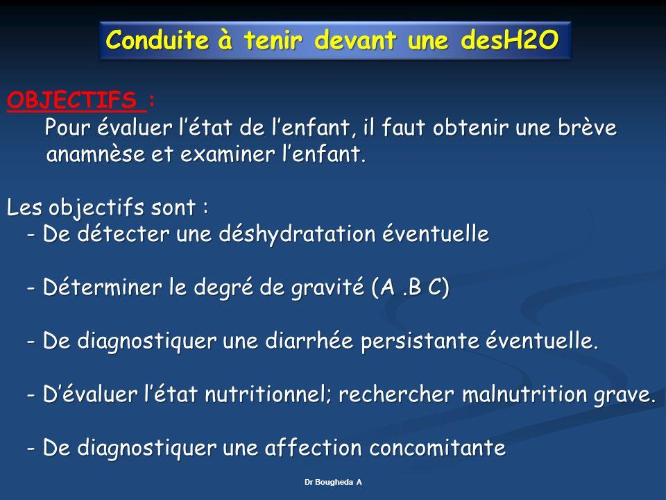 Conduite à tenir devant une desH2O OBJECTIFS : Pour évaluer létat de lenfant, il faut obtenir une brève Pour évaluer létat de lenfant, il faut obtenir