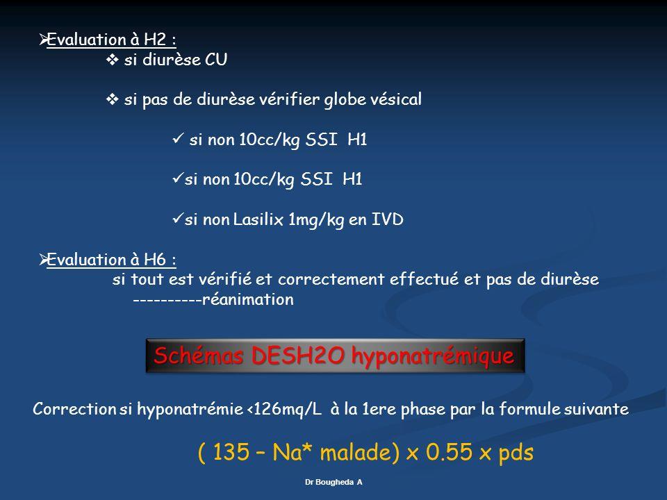 Evaluation à H2 : si diurèse CU si pas de diurèse vérifier globe vésical si non 10cc/kg SSI H1 si non Lasilix 1mg/kg en IVD Evaluation à H6 : si tout