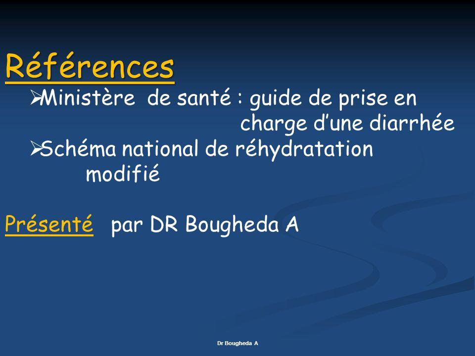 Références Ministère de santé : guide de prise en charge dune diarrhée Schéma national de réhydratation modifié Présenté par DR Bougheda A Dr Bougheda