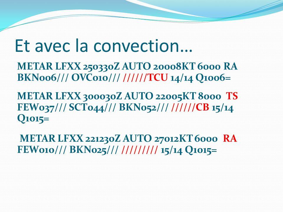 Et avec la convection… METAR LFXX 250330Z AUTO 20008KT 6000 RA BKN006/// OVC010/// //////TCU 14/14 Q1006= METAR LFXX 300030Z AUTO 22005KT 8000 TS FEW0