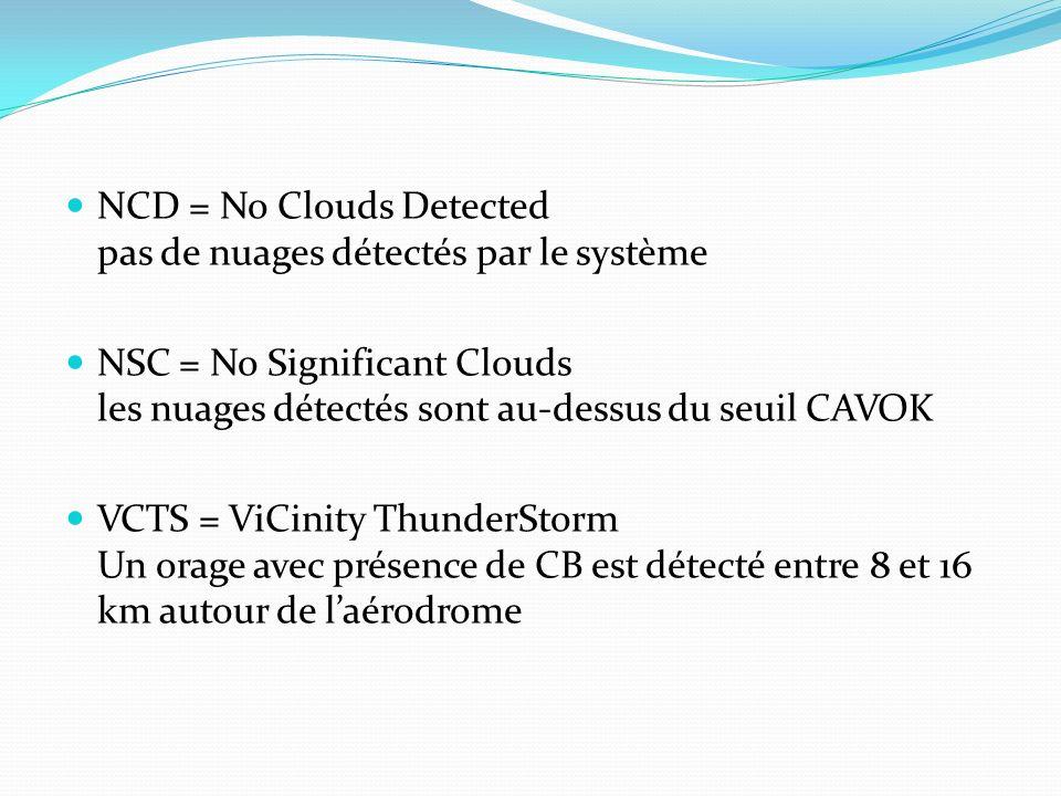 NCD = No Clouds Detected pas de nuages détectés par le système NSC = No Significant Clouds les nuages détectés sont au-dessus du seuil CAVOK VCTS = Vi