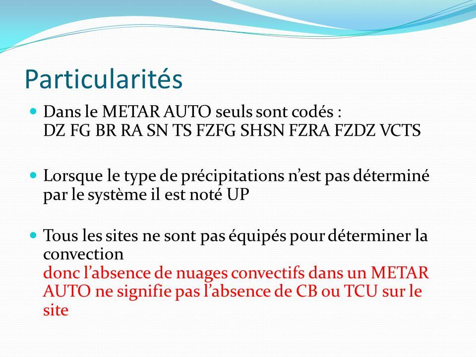 Particularités Dans le METAR AUTO seuls sont codés : DZ FG BR RA SN TS FZFG SHSN FZRA FZDZ VCTS Lorsque le type de précipitations nest pas déterminé p