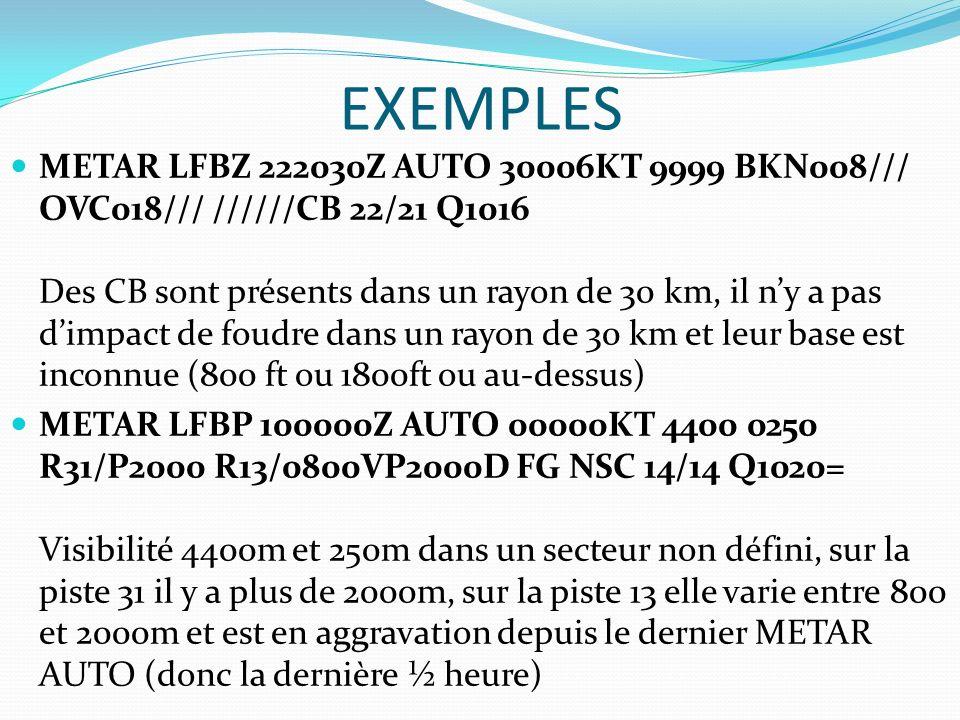 EXEMPLES METAR LFBZ 222030Z AUTO 30006KT 9999 BKN008/// OVC018/// //////CB 22/21 Q1016 Des CB sont présents dans un rayon de 30 km, il ny a pas dimpac