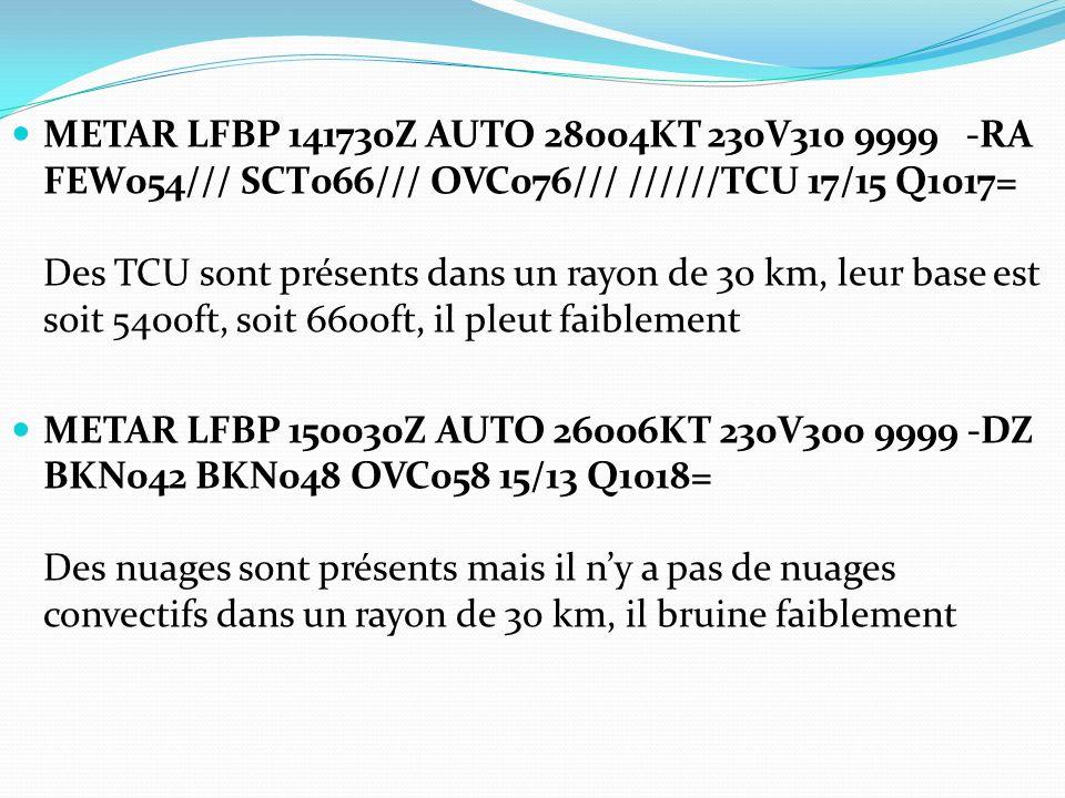 METAR LFBP 141730Z AUTO 28004KT 230V310 9999 -RA FEW054/// SCT066/// OVC076/// //////TCU 17/15 Q1017= Des TCU sont présents dans un rayon de 30 km, le