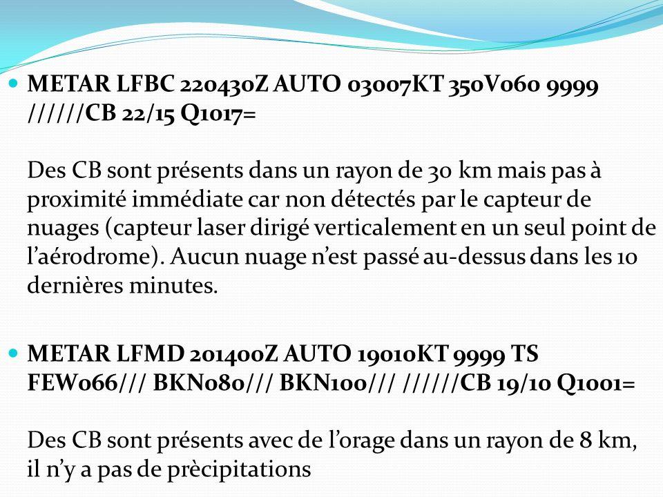 METAR LFBC 220430Z AUTO 03007KT 350V060 9999 //////CB 22/15 Q1017= Des CB sont présents dans un rayon de 30 km mais pas à proximité immédiate car non