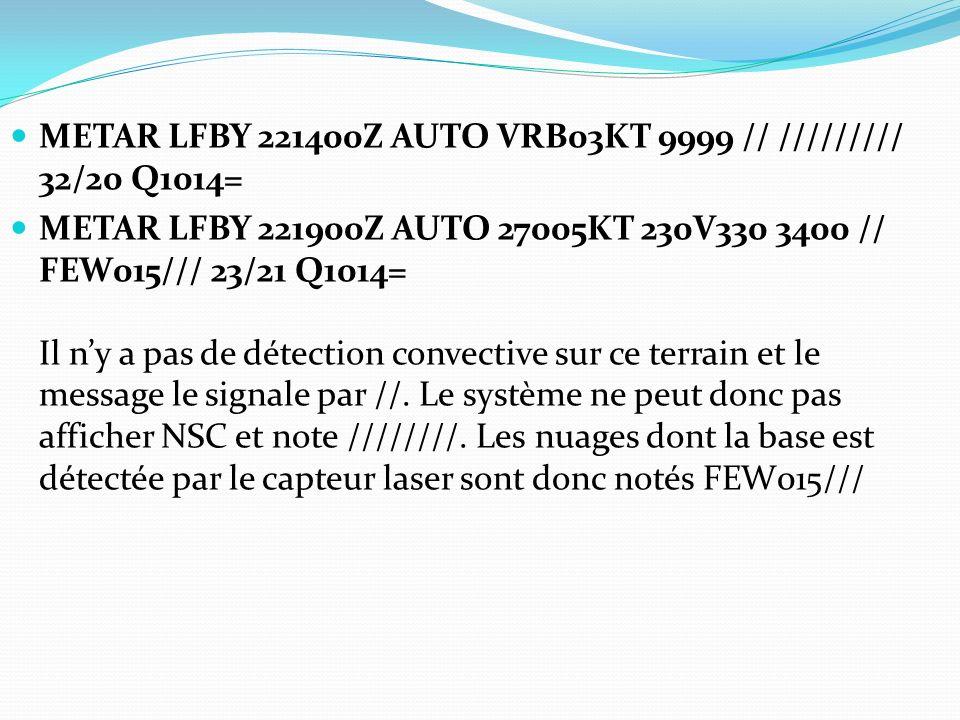 METAR LFBY 221400Z AUTO VRB03KT 9999 // ///////// 32/20 Q1014= METAR LFBY 221900Z AUTO 27005KT 230V330 3400 // FEW015/// 23/21 Q1014= Il ny a pas de d